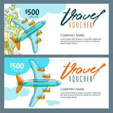 travel voucher images Vector gift travel voucher top view hand drawn flying airplane jpg