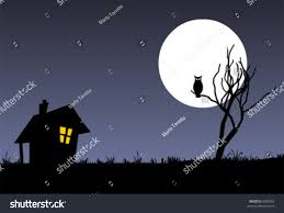 halloween background witch moon halloween vector background tree witch house stock vector 6389782