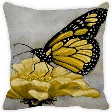 leaf designs light grey yellow butterfly cushion cover