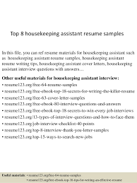 Resume Sample For Housekeeping by Top 8 Housekeeping Assistant Resume Samples 1 638 Jpg Cb U003d1431475214