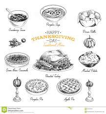 thanksgiving lunch menu vector hand drawn thanksgiving food set stock vector image 63450524