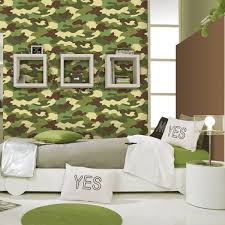 camouflage wallpaper camo green feature wall kids bedroom