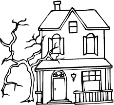 Printable Spooky House | free printable haunted house coloring pages for kids