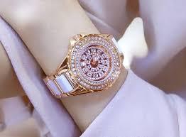 rose rhinestone bracelet images Buy rose gold women famous brand bling watch jpg