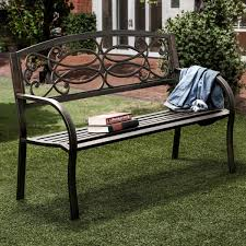 Bench Outdoor Furniture Furniture Of America Flints Bronze Iron Outdoor Garden Bench