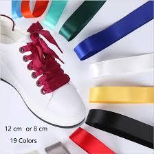 ribbon shoe laces various color flat silk ribbon shoelaces sneaker party sport shoe