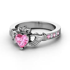 clatter ring european engagement ring claddagh ring heart pink sapphire 14k