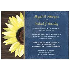 reception invitations only invitations rustic sunflower and blue