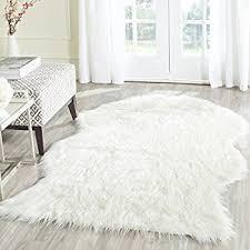 Faux Fur Area Rugs Amazon Com Faux Sheepskin Area Rug 5 U0027x8 U0027 White Kitchen U0026 Dining