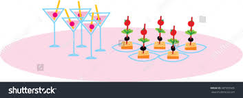 canapes cocktail table party food vector stock vector 387555505