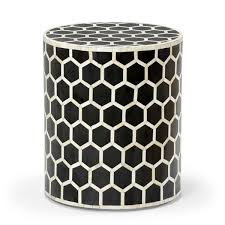 bone inlay side table black and white bone inlay side table pfeifer studio