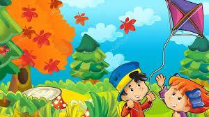 imagenes animadas de otoño niños de dibujos animados jugando otoño fotos de stock