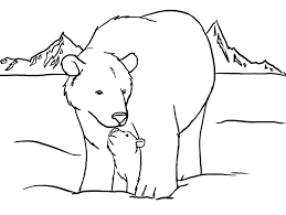 polar bear coloring pages mom and cub coloringstar