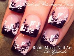 robin moses nail art black and white daisies on a diagonal