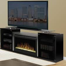 furniture black electric fireplace media console with glass top