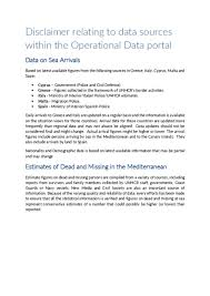 document disclaimer relating data sources within