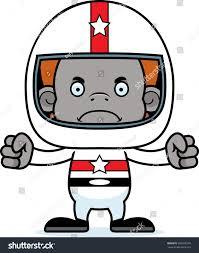 cartoon race car cartoon race car driver orangutan looking stock vector 286828193