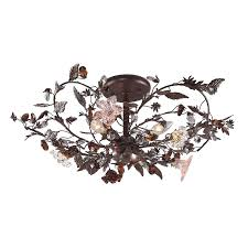 elk 7046 3 3 light semi flush in deep rust and hand blown florets
