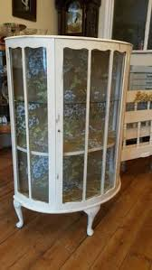 Antique Display Cabinets Ebay Uk Vintage Shabby Chic Glass Fronted Display Cabinet Cupboard Storage