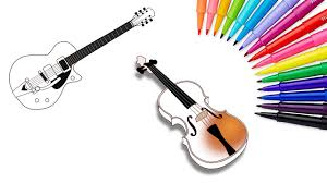how to draw music guitar violin colouring book kids learning