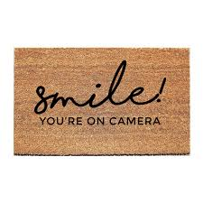 smile you u0027re on camera doormat funny mat welcome mat