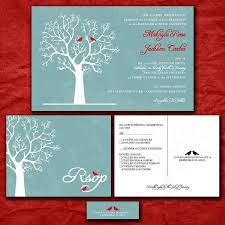 Personalized Wedding Invitations Custom Wedding Invitation Set Love Birds In Winter Blue And Red