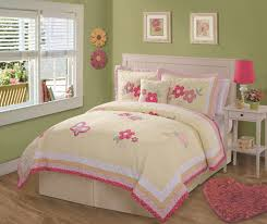 bedroom white wooden bed with headboars using yellow and pink
