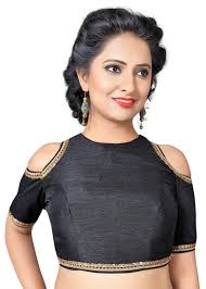 open blouse high neck cut shoulder back open padded ready made designer saree