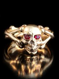 gold skull rings images Skull and crossbones ring with ruby eyes 14k gold marty magic store jpg