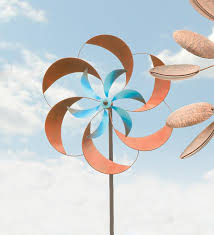 Garden Spinners And Decor Two Tone Pinwheel Metal Garden Wind Spinner Garden Outdoors