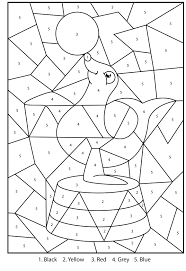 free printable silly seal colour by numbers activity for kids