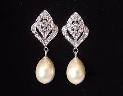 clip on bridal earrings bridal earrings pearl wedding earrings vintage style bridal