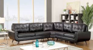 Mid Century Modern Sectional Sofa Furniture Of America 6506 Black Mid Century Modern Tufted Sectional