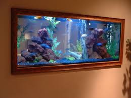 Fish Home Decor Decorations Built In Wall Aquarium Designs Ideas Using Brown