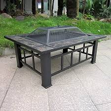 Firepit Cover Ikayaa Iron Rectangular Pit With Pit Cover And For