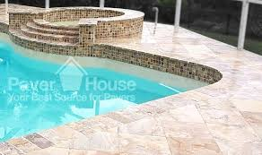 travertine pavers on pool deck and pool spa in tampa fl by paver house