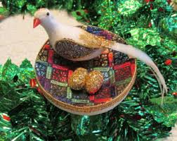 Christmas Tree Decorated With Birds by Bird Nest Ornament Etsy