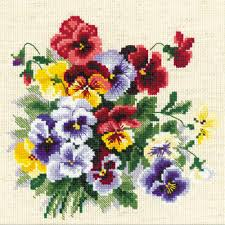 pansy medley counted cross stitch kit 8 x8 14 count stitch kits