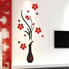 decorie 3d vase flower tree pattern diy wall stickers for home transer diy vase flower tree crystal arcylic 3d wall stickers home window wall decal decor