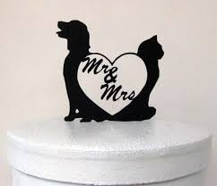 wedding cake topper dog and cat with mr and mrs 2418308 weddbook