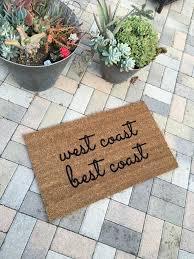 west coast best coast funny doormat hand painted outdoor welcome
