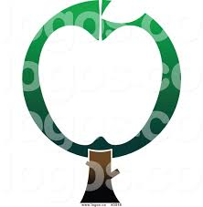 royalty free green and white apple tree logo by vector tradition