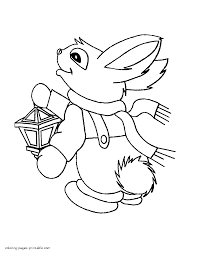 winter rabbit coloring page