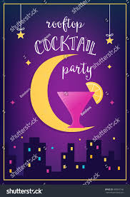 Cocktail Party Invitation Card Rooftop Cocktail Party Invitation Vector Cards Stock Vector