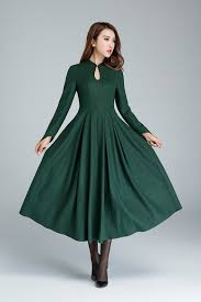 party dress green wool dress dressprom dress party dress maxi