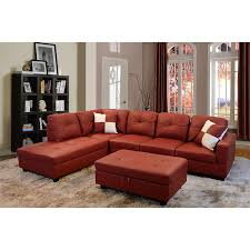Leather Sectional Sofa With Ottoman by Amazon Com Beverly Furniture Beverly Red 3 Piecefaux Leather