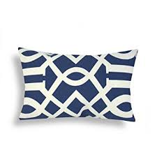 Lumbar Patio Pillows Amazon Com Domusworks Trellis Lumbar Pillow Navy Blue Patio