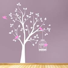 tree wall sticker gardens and landscapings decoration tree with bird cage wall stickers