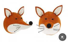 fox head wall trophy wall decors for kids room felt animal heads