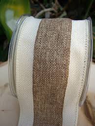 burlap ribbon ribbon white and ivory 3in x 10 yds